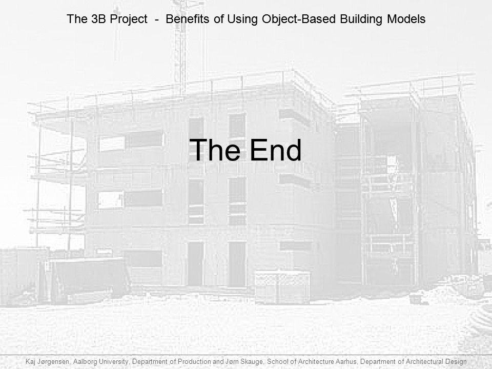 The 3B Project - Benefits of Using Object-Based Building Models