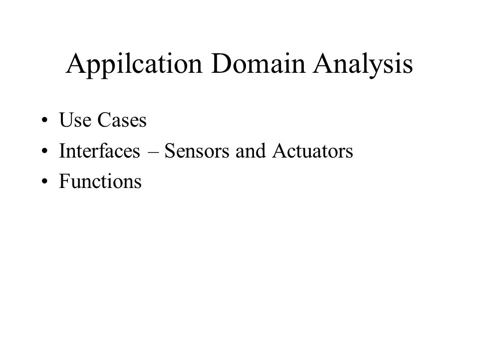 Appilcation Domain Analysis