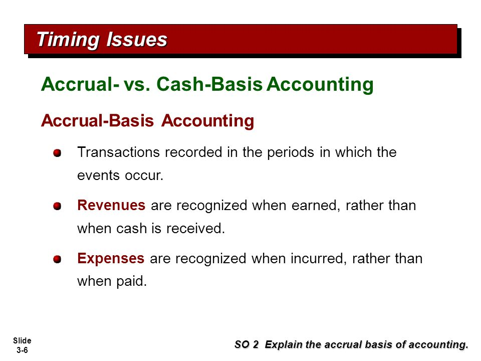 Timing Issues Accrual- vs. Cash-Basis Accounting