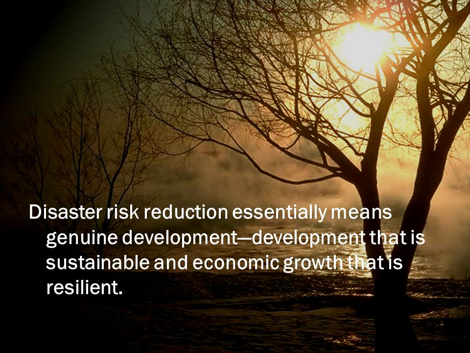 Disaster risk reduction essentially means genuine development—development that is sustainable and economic growth that is resilient.