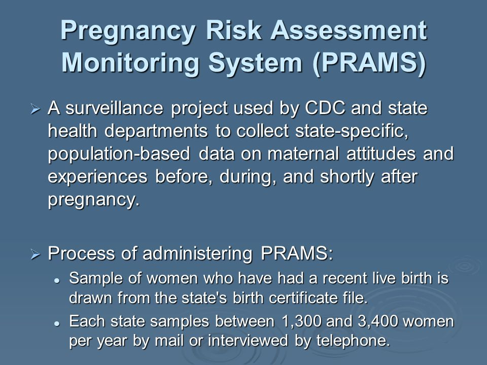 Pregnancy Risk Assessment Monitoring System (PRAMS)
