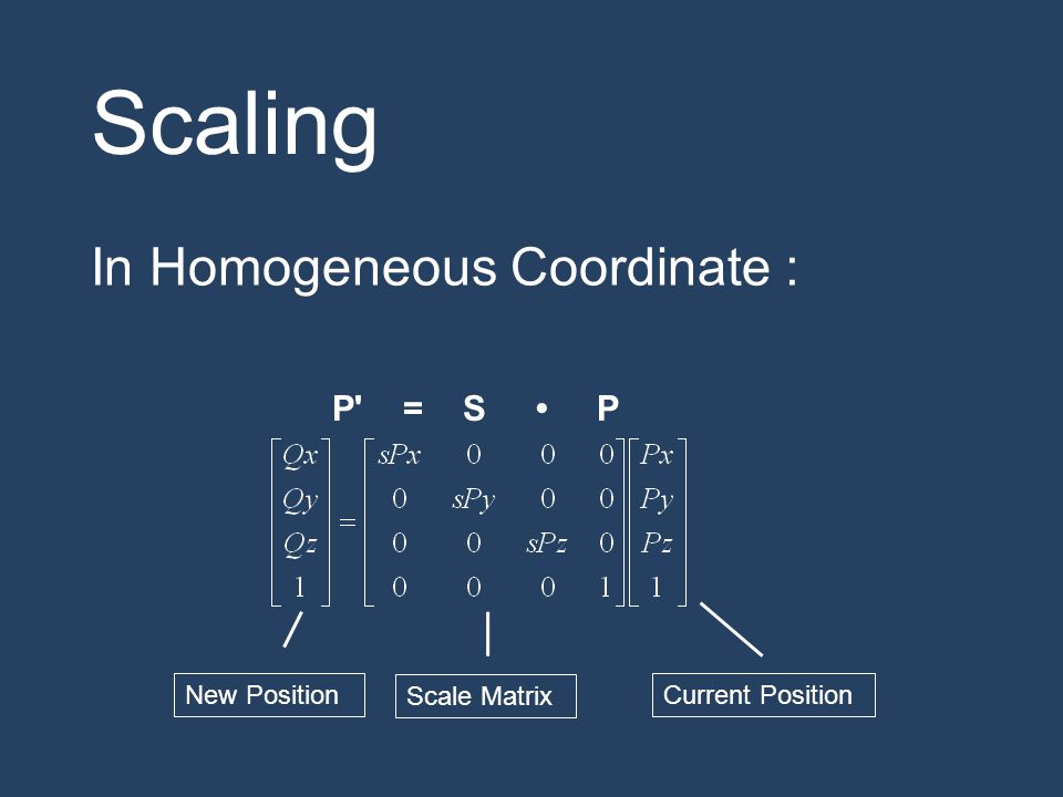 Scaling In Homogeneous Coordinate : P = S • P New Position
