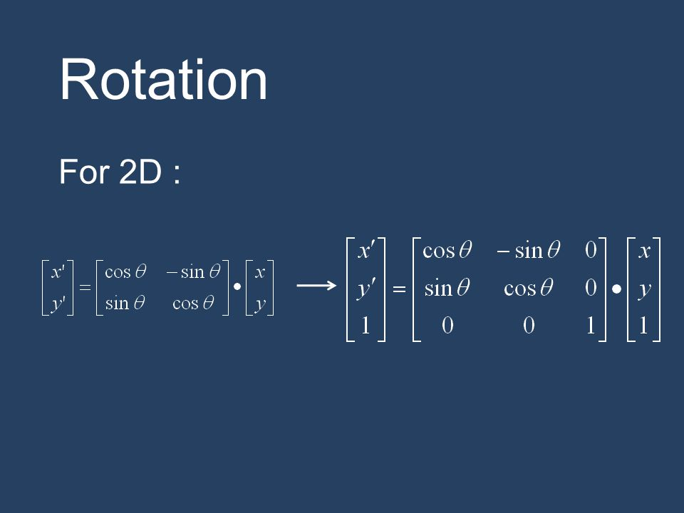 Rotation For 2D :