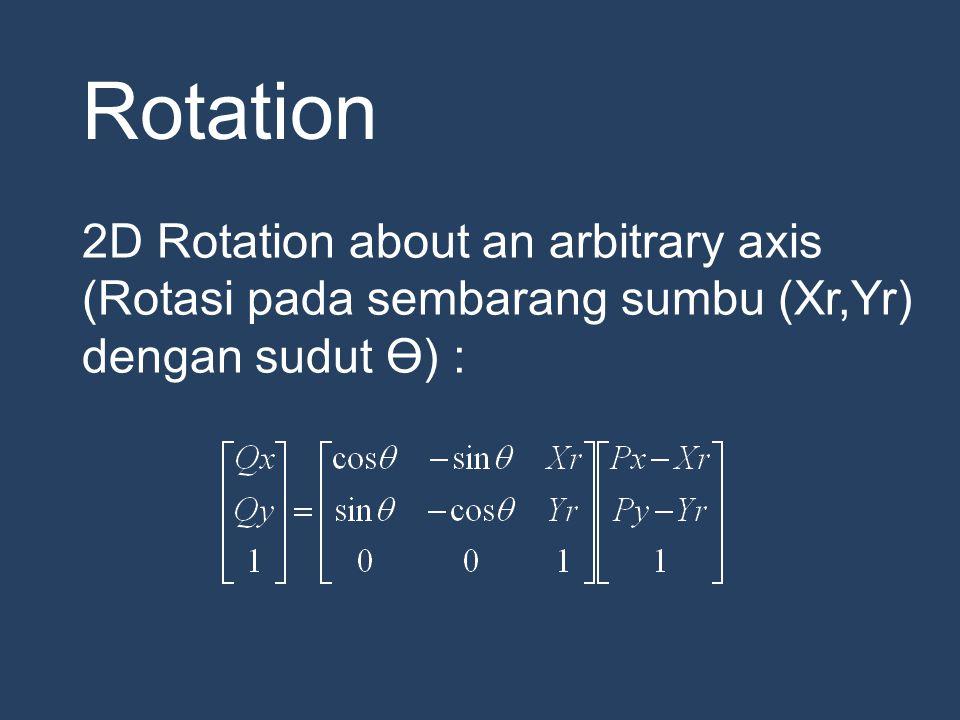 Rotation 2D Rotation about an arbitrary axis (Rotasi pada sembarang sumbu (Xr,Yr) dengan sudut Ө) :