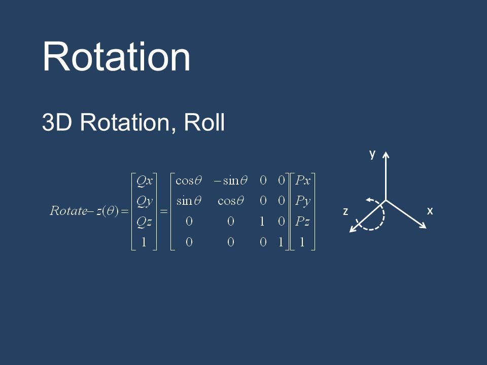 Rotation 3D Rotation, Roll y z x