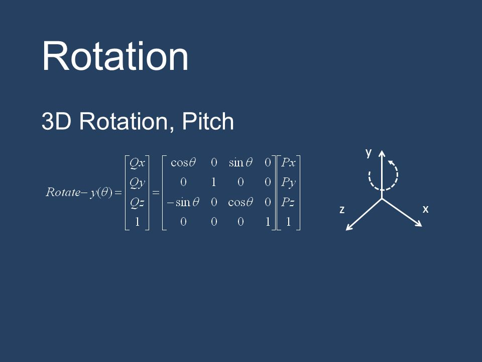 Rotation 3D Rotation, Pitch y z x