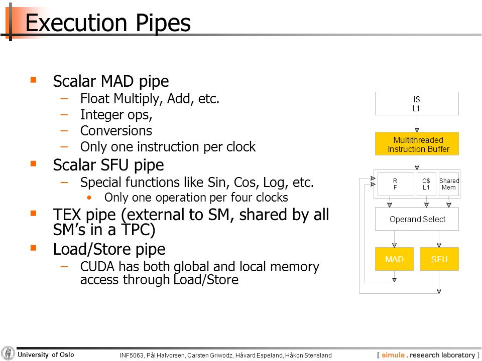 Execution Pipes Scalar MAD pipe Scalar SFU pipe