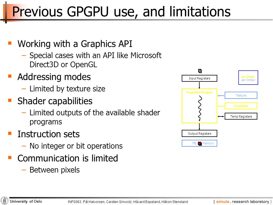 Previous GPGPU use, and limitations