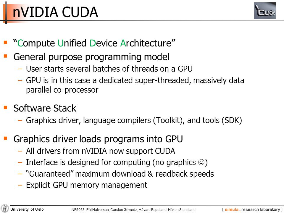 nVIDIA CUDA Compute Unified Device Architecture