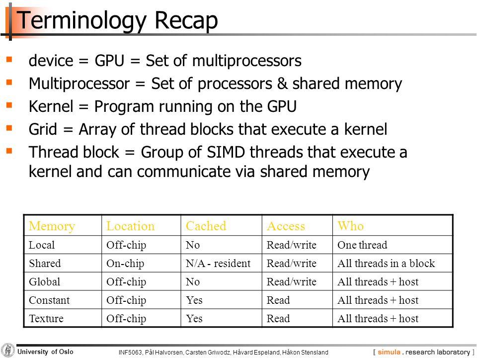 Terminology Recap device = GPU = Set of multiprocessors