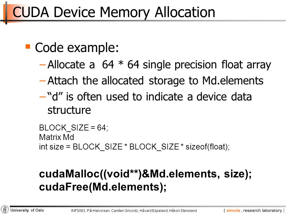 CUDA Device Memory Allocation