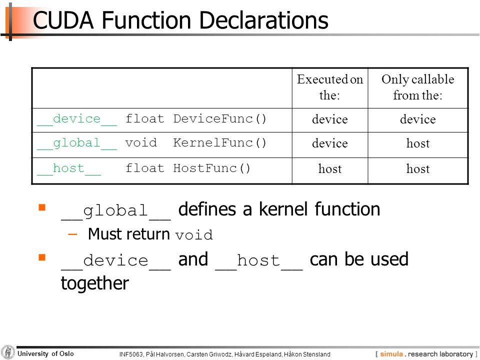 CUDA Function Declarations