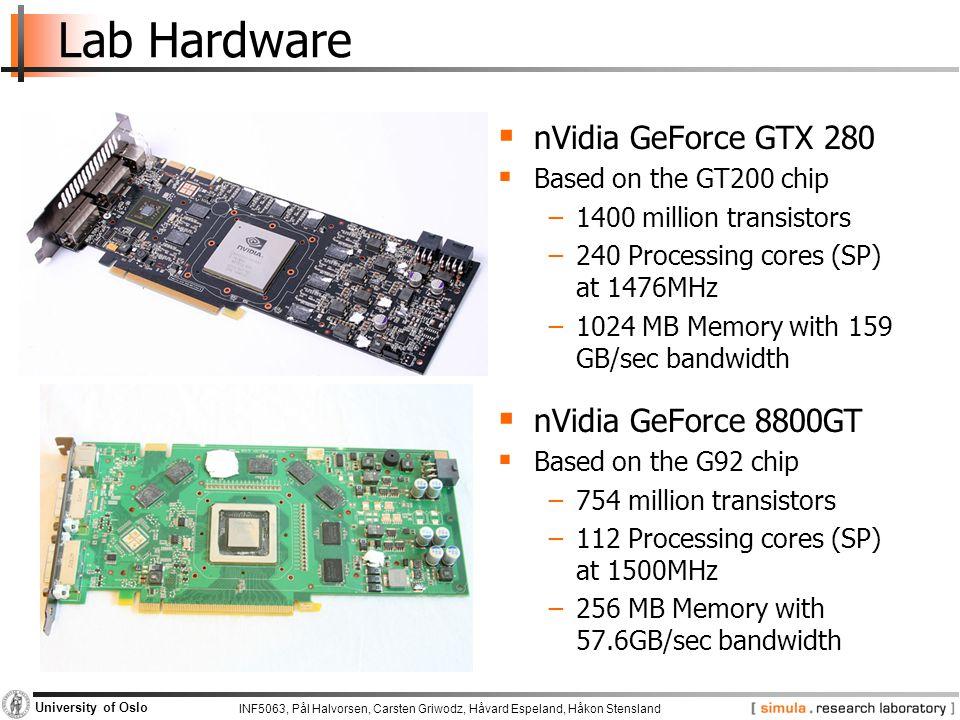 Lab Hardware nVidia GeForce GTX 280 nVidia GeForce 8800GT