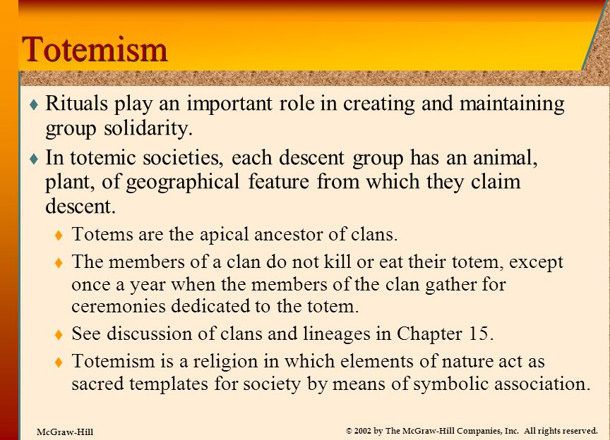 Totemism Rituals play an important role in creating and maintaining group solidarity.