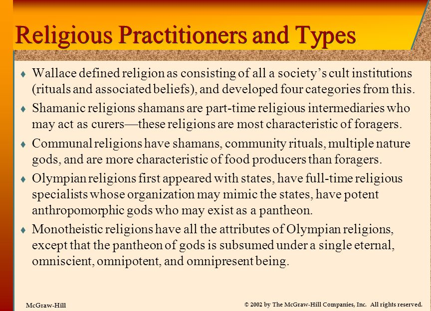 Religious Practitioners and Types