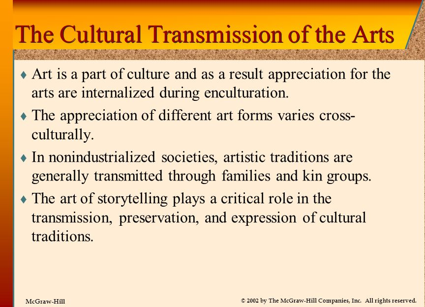 The Cultural Transmission of the Arts