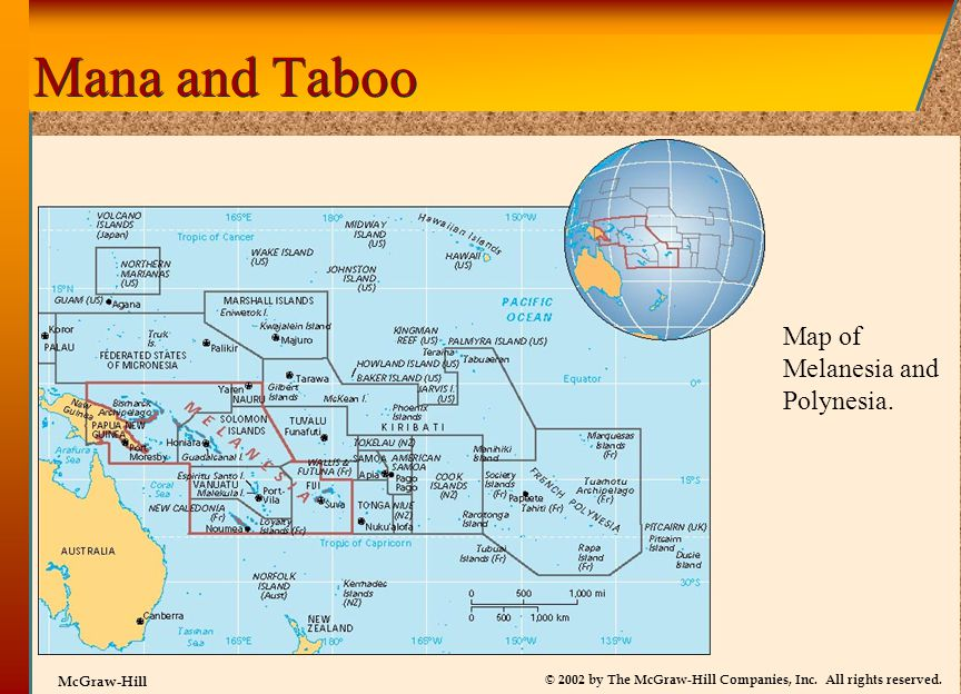 Mana and Taboo Map of Melanesia and Polynesia.