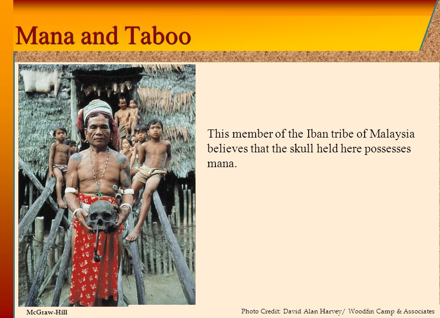 Mana and Taboo This member of the Iban tribe of Malaysia believes that the skull held here possesses mana.