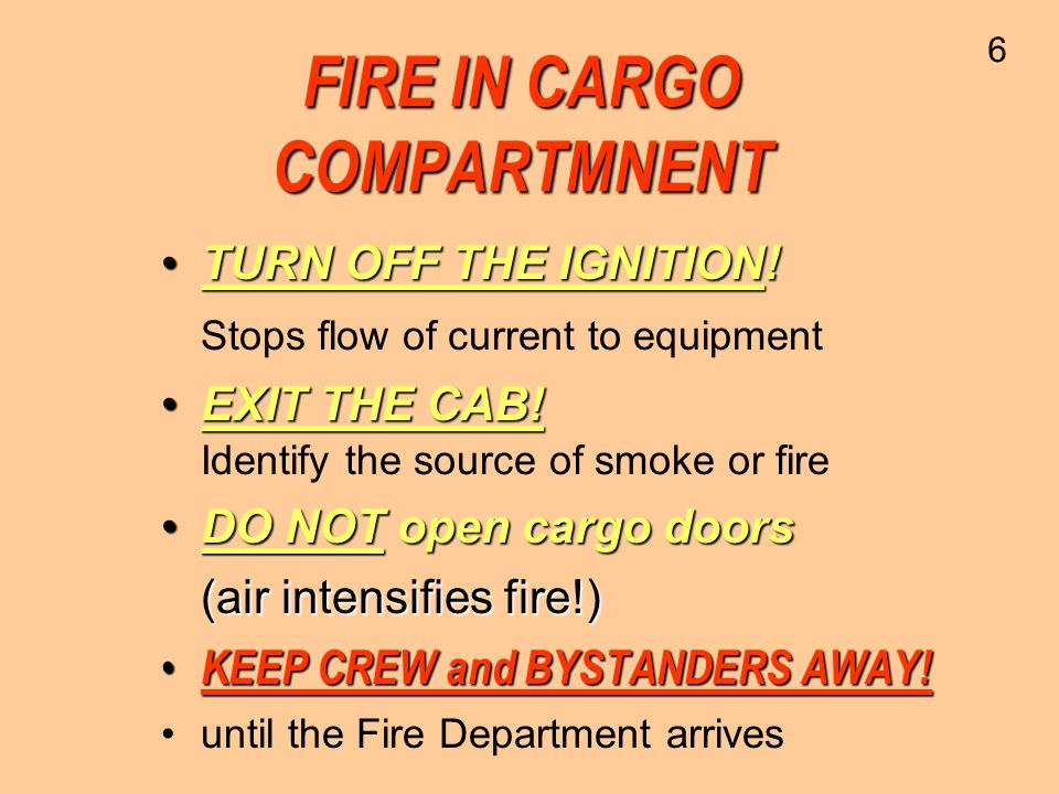 FIRE IN CARGO COMPARTMNENT