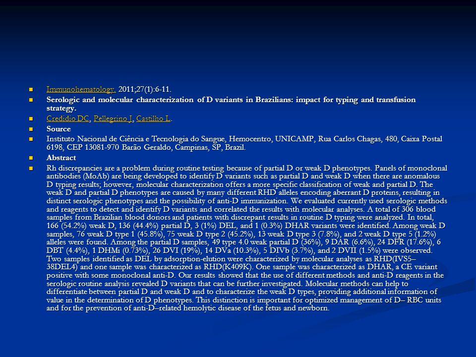 Immunohematology. 2011;27(1):6-11.