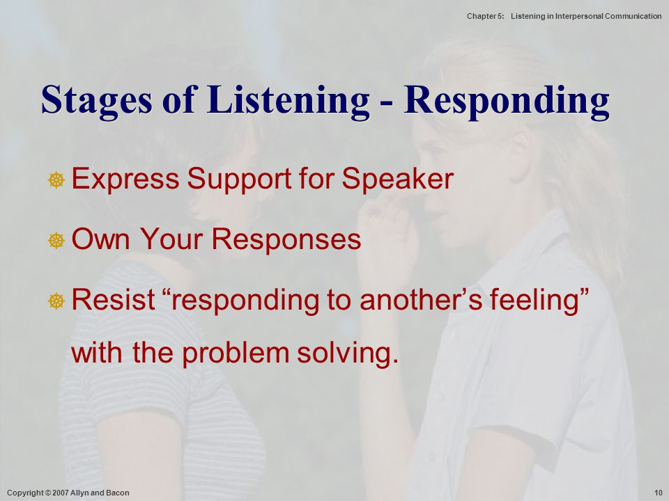 Stages of Listening - Responding
