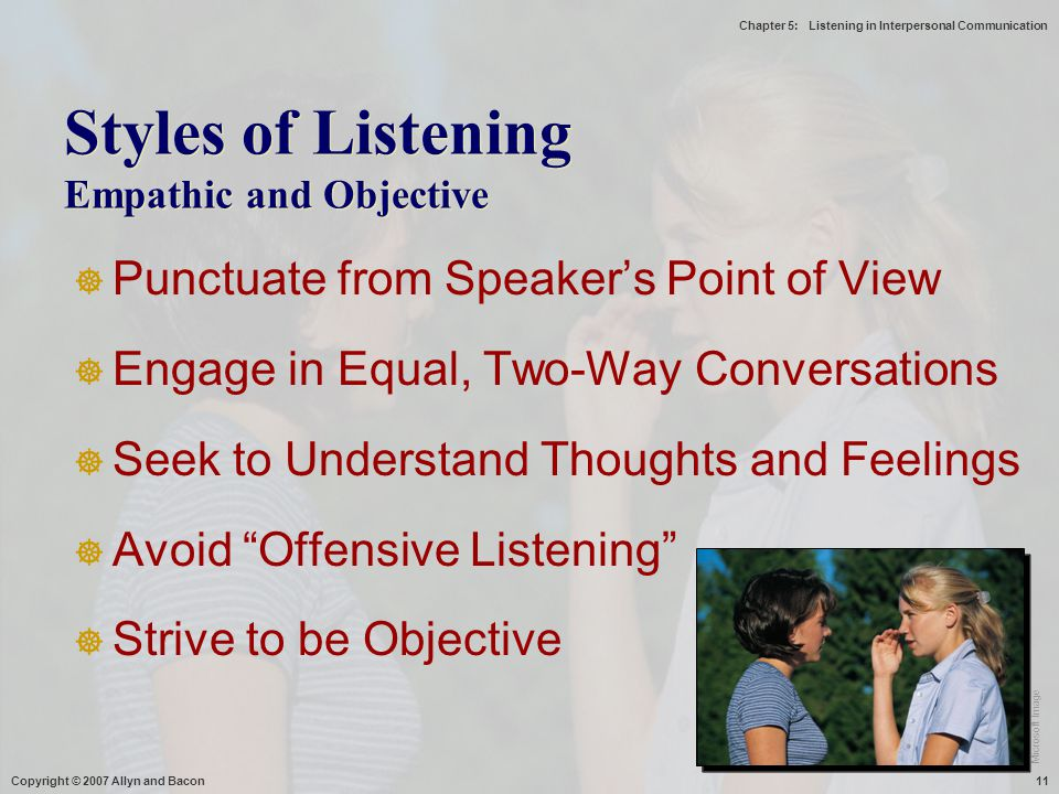 Styles of Listening Empathic and Objective