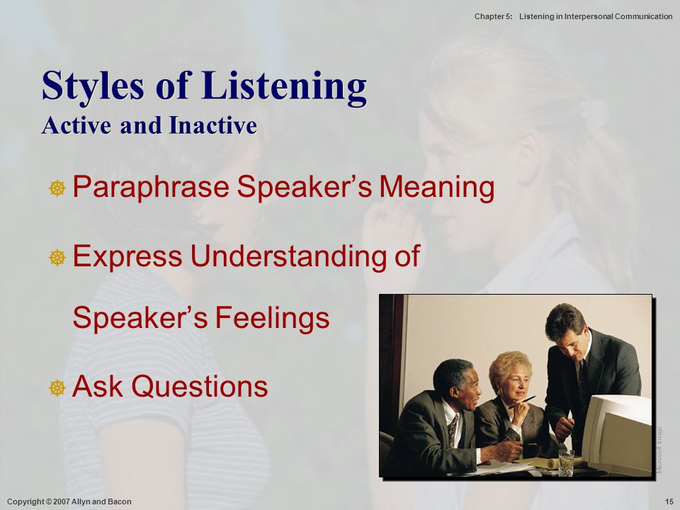 Styles of Listening Active and Inactive