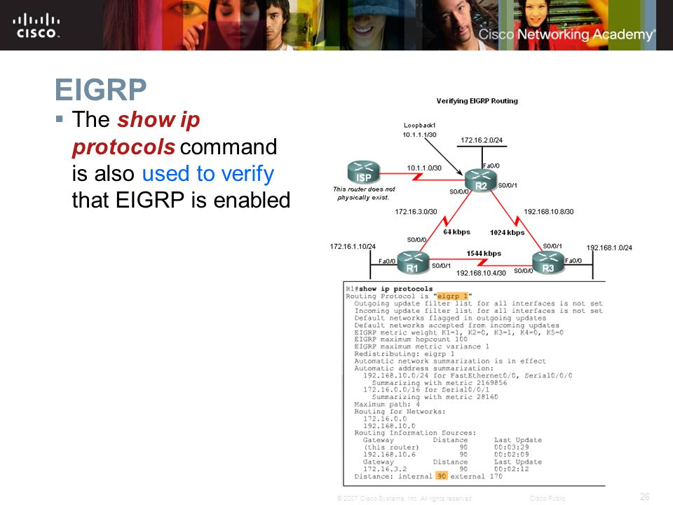 EIGRP The show ip protocols command is also used to verify that EIGRP is enabled