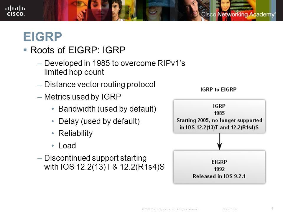 EIGRP Roots of EIGRP: IGRP