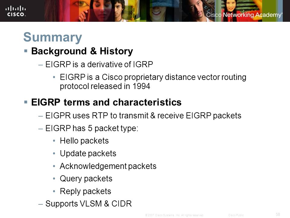 Summary Background & History EIGRP terms and characteristics