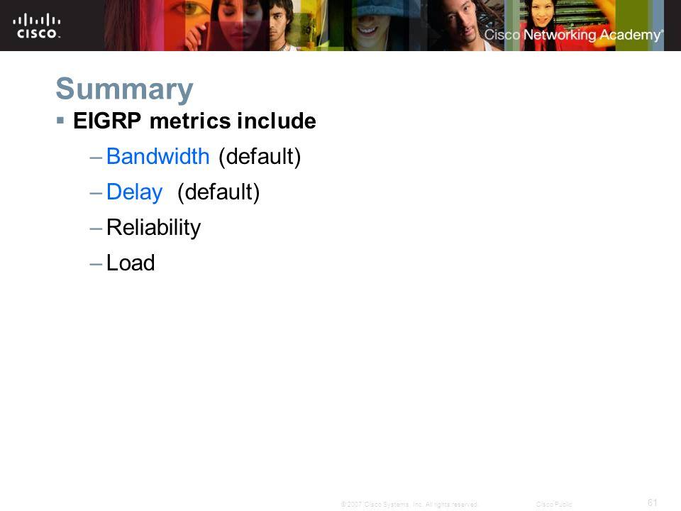 Summary EIGRP metrics include Bandwidth (default) Delay (default)
