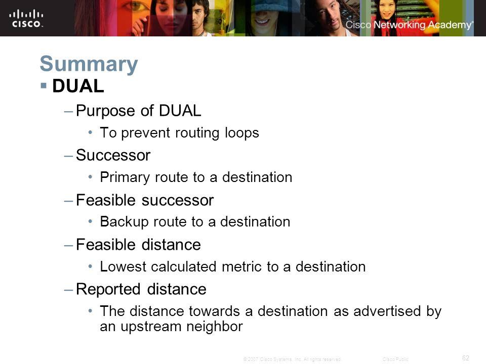 Summary DUAL Purpose of DUAL Successor Feasible successor
