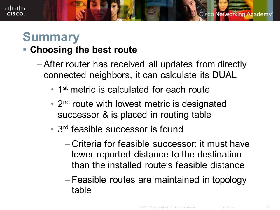 Summary Choosing the best route