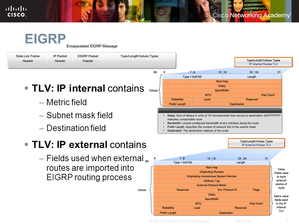 EIGRP TLV: IP internal contains TLV: IP external contains Metric field