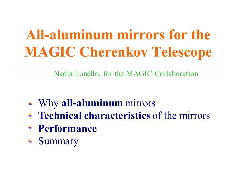 All-aluminum mirrors for the MAGIC Cherenkov Telescope