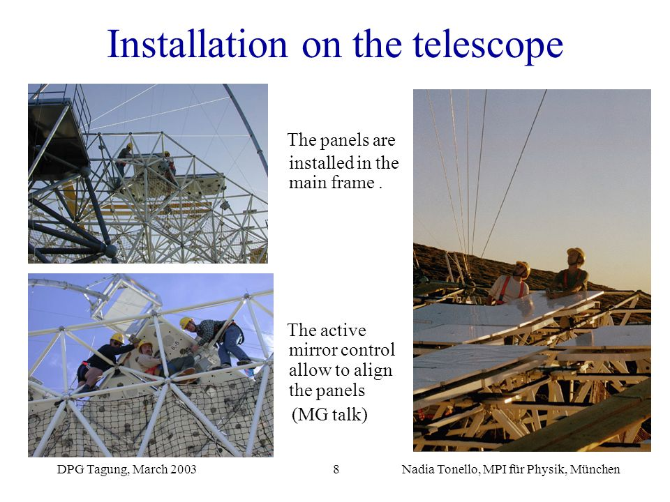 Installation on the telescope