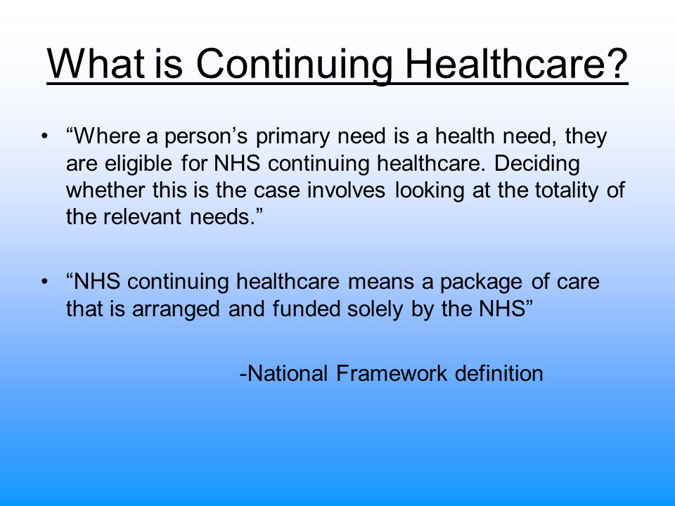 What is Continuing Healthcare