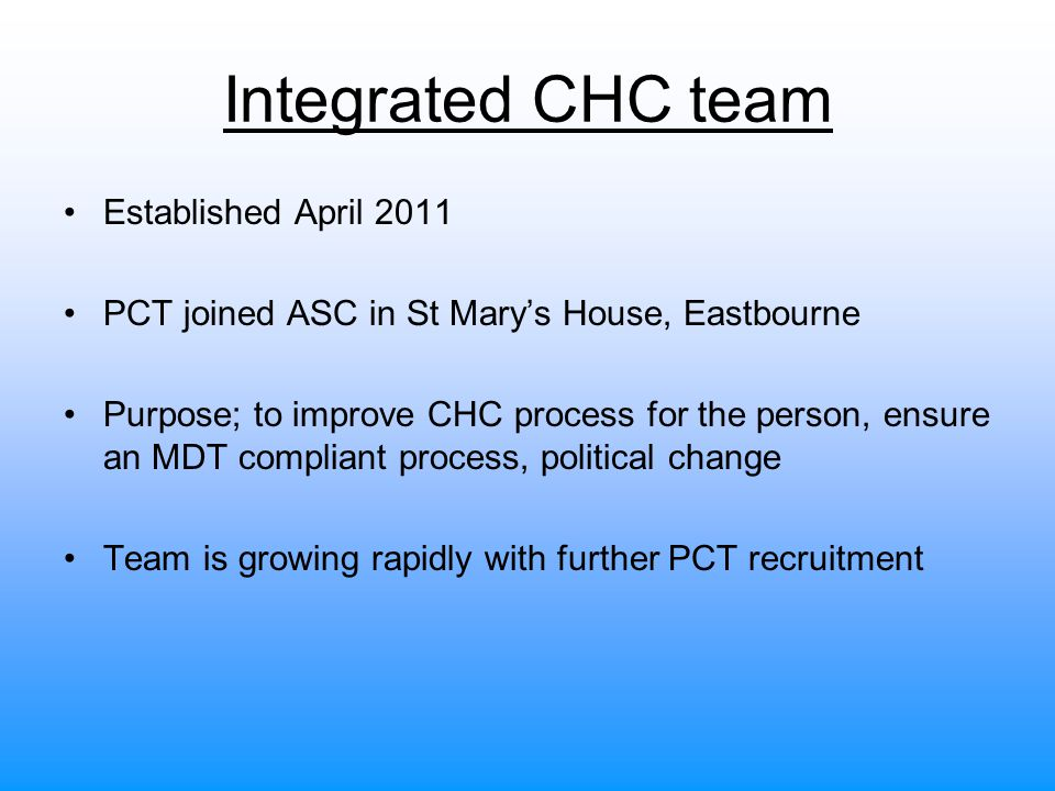 Integrated CHC team Established April 2011