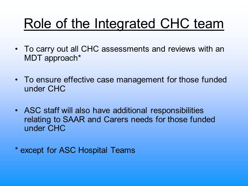 Role of the Integrated CHC team