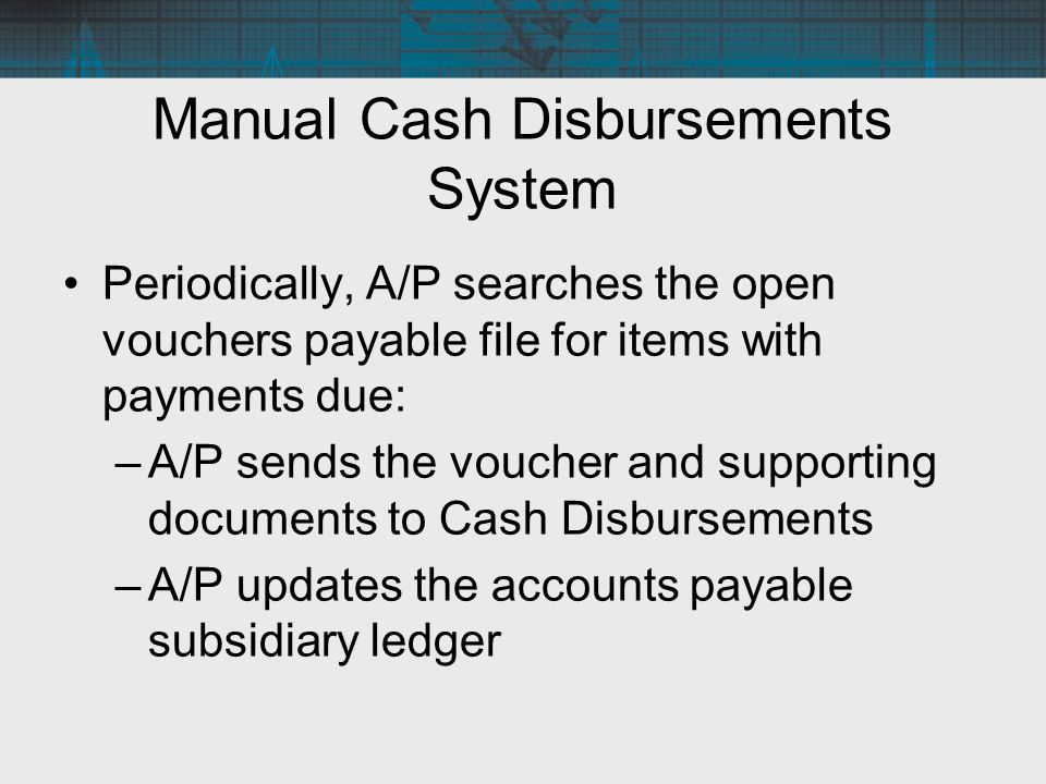 Manual Cash Disbursements System