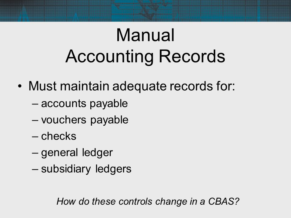 Manual Accounting Records