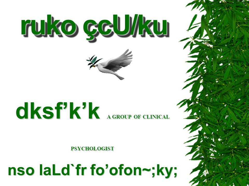 dksf'k'k A GROUP OF CLINICAL PSYCHOLOGIST nso laLd`fr fo'ofon~;ky;