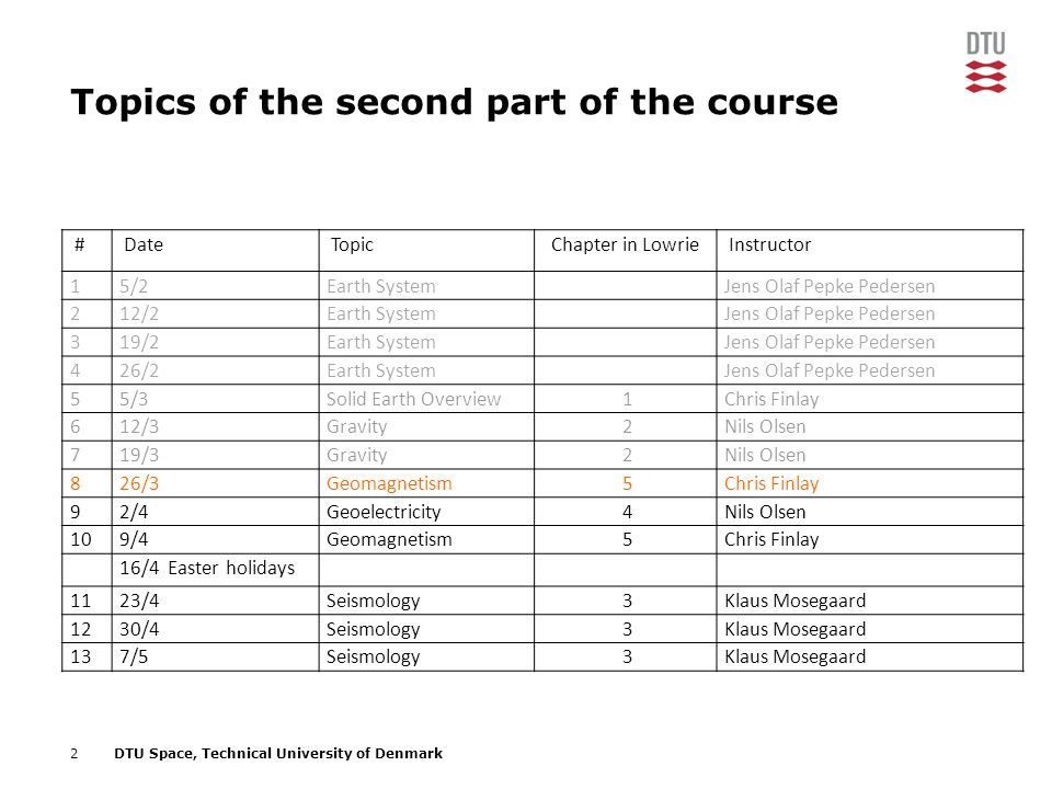 Topics of the second part of the course