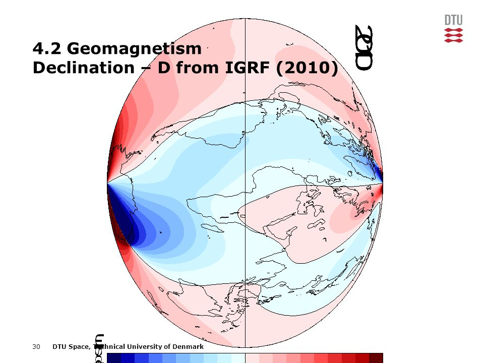 4.2 Geomagnetism Declination – D from IGRF (2010)