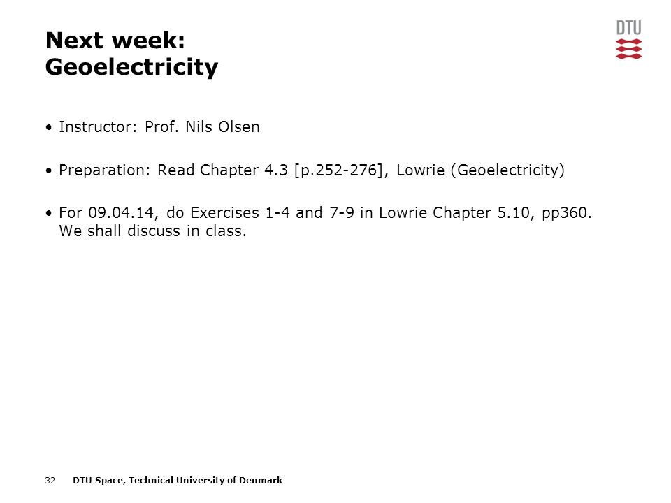Next week: Geoelectricity