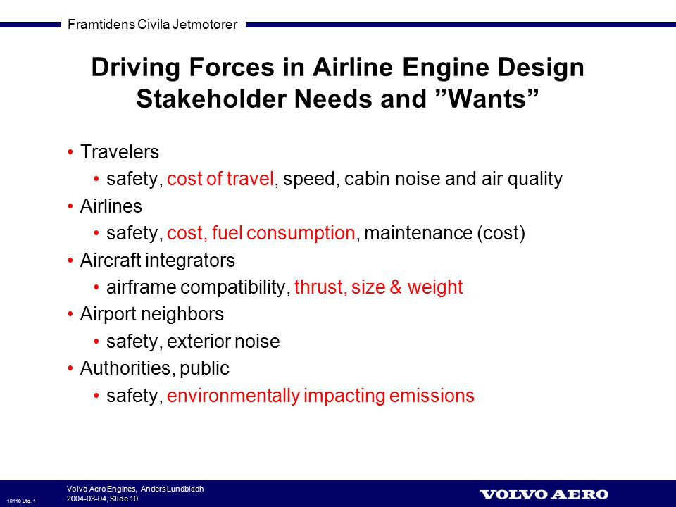 Driving Forces in Airline Engine Design Stakeholder Needs and Wants