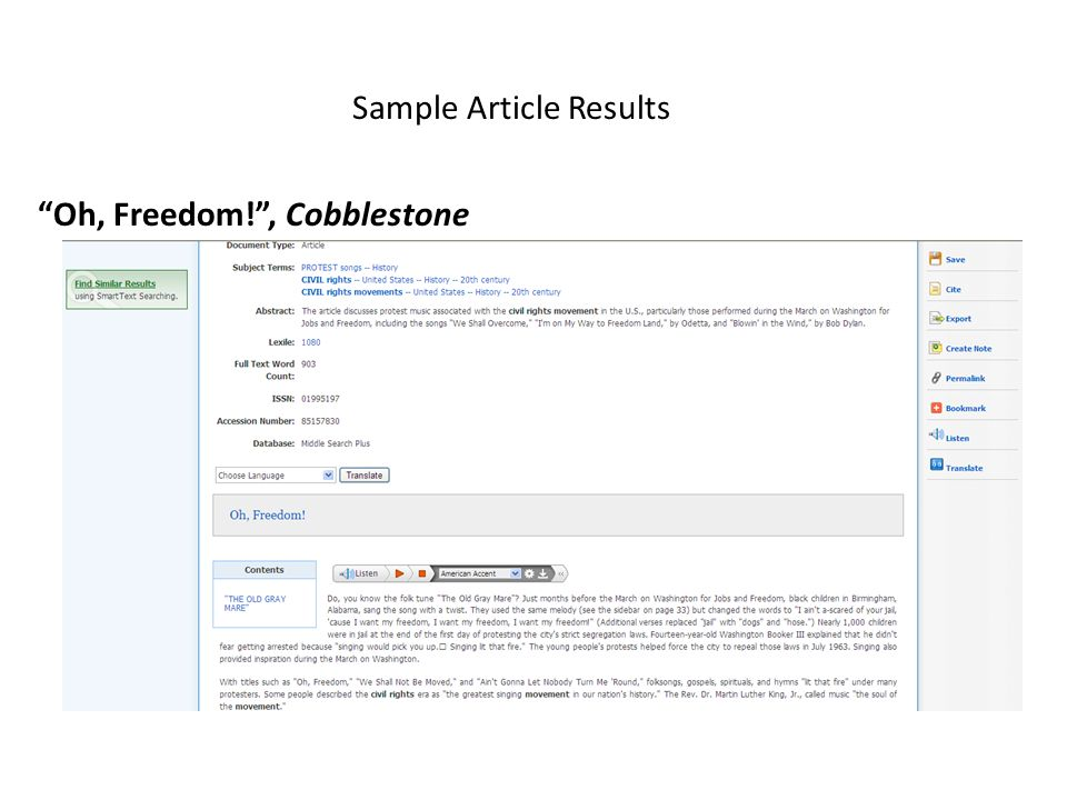 Sample Article Results