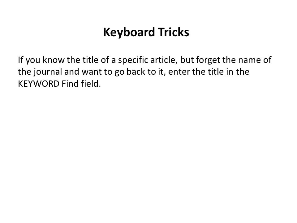 Keyboard Tricks