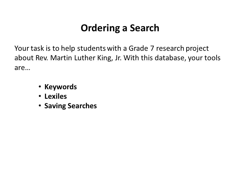 Ordering a Search