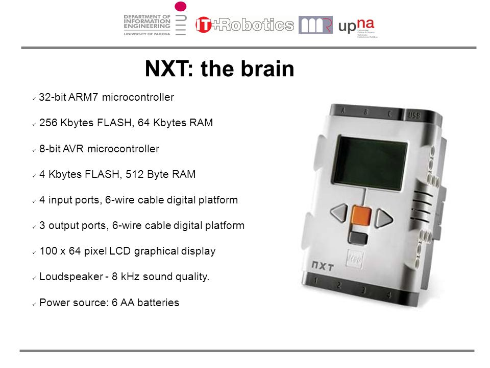 NXT: the brain 360 deg. unwrapped image 32-bit ARM7 microcontroller
